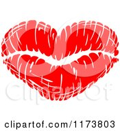 Clipart Of A Red Lipstick Kiss Royalty Free Vector Illustration