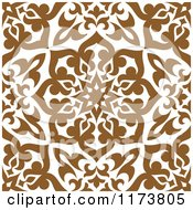 Clipart Of A Seamless Brown And White Arabic Floral Pattern Royalty Free Vector Illustration