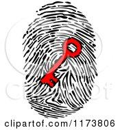 Clipart Of A Red Key In A Fingerprint Royalty Free Vector Illustration