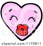 Cartoon Of A Pink Heart Mascot With Puckered Lips Royalty Free Vector Clipart by lineartestpilot