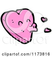 Cartoon Of A Pink Heart Mascot With Puckered Lips Royalty Free Vector Clipart