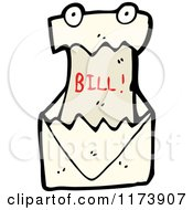 Cartoon Of A Bill Mascot In An Envelope Royalty Free Vector Clipart