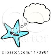 Cartoon Of An Aqua Starfish Character Beside A Blank Thought Cloud Royalty Free Stock Illustration