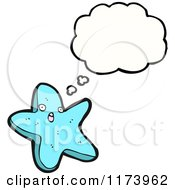 Cartoon Of A Starfish Character Next To A Blank Thought Cloud Royalty Free Stock Illustration