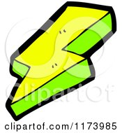 Cartoon Of A Yellow And Green Lightning Bolt Royalty Free Vector Clipart by lineartestpilot