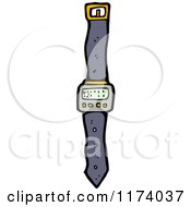 Cartoon Of A Digital Wrist Watch Royalty Free Vector Clipart by lineartestpilot
