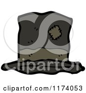 Cartoon Of A Patched Top Hat Royalty Free Vector Clipart