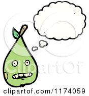 Cartoon Of Pear With Conversation Bubble Royalty Free Vector Illustration by lineartestpilot