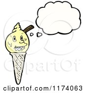 Cartoon Of Ice Cream Cone With Conversation Bubble Royalty Free Vector Illustration
