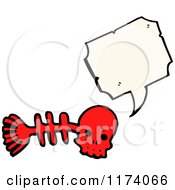 Cartoon Of Red Fish Bone Skull With Conversation Bubble Royalty Free Vector Illustration by lineartestpilot