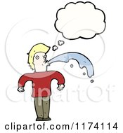 Cartoon Of Blonde Man With Conversation Bubble Spitting Royalty Free Vector Illustration