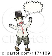 Cartoon Of Blonde Man With Conversation Bubble Wearing A Hat Royalty Free Vector Illustration