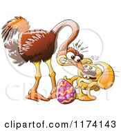 Cartoon Of An Easter Bunny Trying To Steal An Ostrich Egg Royalty Free Vector Clipart by Zooco
