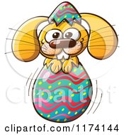 Cartoon of a Happy Easter Bunny Breaking Through an Egg - Royalty Free Vector Clipart by Zooco