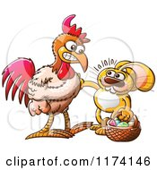 Cartoon Of A Mad Rooster About To Fight An Easter Bunny By An Egg Royalty Free Vector Clipart by Zooco