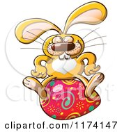 Cartoon Of A Happy Easter Bunny Sitting On An Egg Royalty Free Vector Clipart by Zooco