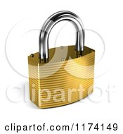 Clipart Of A 3d Closed Gold Padlock With Shading Royalty Free CGI Illustration