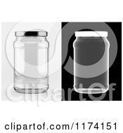 3d Empty Glass Jar On White And Black Backgrounds