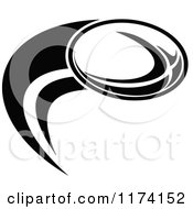 Clipart Of A Black And White Rugby Ball And Swoosh With A White Ring Around The Ball Royalty Free Vector Illustration