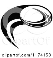 Clipart Of A Black And White Rugby Ball And Swoosh Royalty Free Vector Illustration