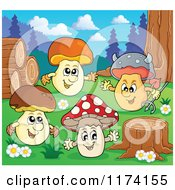 Cartoon Of Mushroom Characters By Logs And A Tree Stump Royalty Free Vector Clipart by visekart