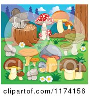 Cartoon Of Mushrooms Growing Around A Tree Stump Royalty Free Vector Clipart
