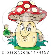 Cartoon Of A Mushroom Holding A Bottle Of Poison Royalty Free Vector Clipart by visekart