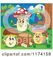Cartoon Of Mushroom Characters By A Tree Stump Royalty Free Vector Clipart by visekart