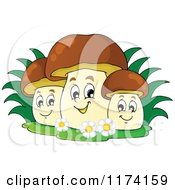 Cartoon Of A Group Of Three Happy Mushrooms Royalty Free Vector Clipart by visekart