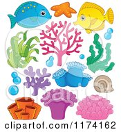 Cartoon Of A Marine Fish Corals Plants And Anemones Royalty Free Vector Clipart