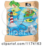 Cartoon Of A Vertical Parchment Treasure Map Of A Pirate Ship Near An Island And Lighthouse Royalty Free Vector Clipart