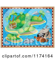 Cartoon Of A Treasure Map Of A Pirate Ship Near An Island With A Booty Chest Royalty Free Vector Clipart