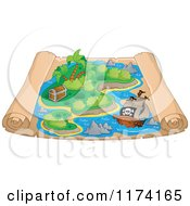 Cartoon Of A Parchment Treasure Map With A Pirate Ship Near An Island Royalty Free Vector Clipart