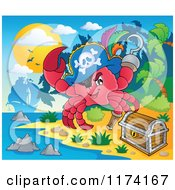 Cartoon Of A Pirate Crab By A Treasure Chest On An Island Royalty Free Vector Clipart