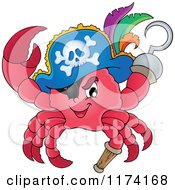Cartoon Of A Pirate Crab Captain With A Hat Peg Leg And Hook Hand Royalty Free Vector Clipart by visekart