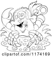 Cartoon Of A Black And White Pirate Crab Captain With A Hat Peg Leg And Hook Hand Royalty Free Vector Clipart by visekart