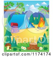Cartoon Of A Campground Site With A Tent Pack And Fire Royalty Free Vector Clipart by visekart