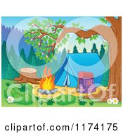 Cartoon Of A Camp Site With A Tent Pack And Fire Royalty Free Vector Clipart