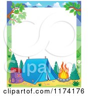 Cartoon Of A Camping Frame With A Tent And Fire On White Royalty Free Vector Clipart