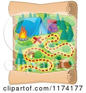 Cartoon Of A Vertical Camp Ground Scroll Map Royalty Free Vector Clipart
