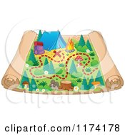 Cartoon Of A Camp Ground Scroll Map Royalty Free Vector Clipart