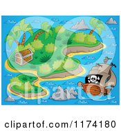 Cartoon Of A Pirate Ship Near An Island With A Treasure Chest Royalty Free Vector Clipart