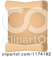Cartoon Of A Vertical Old Scroll Royalty Free Vector Clipart