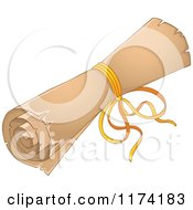 Cartoon Of A Rolled Up Old Scroll Tied With A Ribbon Royalty Free Vector Clipart