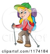 Cartoon Of A Happy Blond Girl Hiking With Trekking Poles Royalty Free Vector Clipart