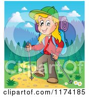 Cartoon Of A Happy Blond Woman Hiking On A Trail With Trekking Poles Royalty Free Vector Clipart by visekart
