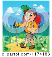 Cartoon Of A Happy Man Hiking With Trekking Poles Royalty Free Vector Clipart
