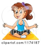 Cartoon Of A Brunette Yoga Woman In A Lotus Pose Royalty Free Vector Clipart