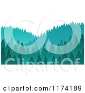 Cartoon Of A Scenic Hills With Evergreen Trees Royalty Free Vector Clipart by visekart