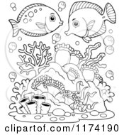 Cartoon Of Black And White Marine Fish Over Corals And Anemones Royalty Free Vector Clipart by visekart